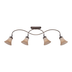 Quoizel - Quoizel Palladian Bronze Track - SKU: ALZ1404PN - Aliza is elegant and stylish a beautiful collection for todays home. Featuring sleek oval tubing and a versatile Palladian Bronze finish, this collection compliments any decor with trumpeted fluted glass in a soft gradient amber mist.