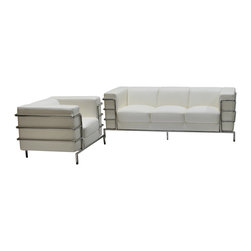 Diamond Sofa - Diamond Sofa Citadel Sofa & Chair Set in White - The Citadel Collection by Diamond Sofa is a Le-Corbusier-inspired design with an exposed tubular steel wrap-around frame .  Covered with plush, deep cushioning, this contemporary collection offers a modern approach to a classic frame.  The White Bonded Leather Sofa and Chair features a kiln-dried hardwood frame that is glued and reinforced, offers strength, while the zig zag spring suspension base gives you a supple seating that will hold up for years.  The elastic webbing back suspension offers additional stability while allowing for the leather to breathe and maintain its shape.  Seat cushions are comprised of a high density foam cushion wrapped in polyester fibers to ensure a comfortable, relaxing and lasting seat.  Seat cushions and back pillows are attached to the frame to eliminate shifts or gaps. The crisp and angular lines promote an aura of strikingly modern comfort.  White Bonded leather finishes the piece, to provide and ensure years of comfort and enjoyment.  Citadel Sofa measures 79 inches wide by 33 inches deep by 28 inches high. Citadel Chair measures 39 inches wide by 33 inches deep by 28 inches high.