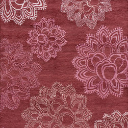 """Momeni - Momeni Zen Floral Magenta 3'6"""" x 5'6"""" Rug by RugLots - Inspired by all things tranquil Zen is an elegant collection of hand-tufted rugs, with rich bamboo silk highlights enhancing their quiet appeal and making a graceful addition to any decor. 100% wool."""