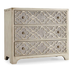 "Hooker Furniture - Sanctuary Fretwork Chest - White glove, in-home delivery included!  Pursue serenity at home with the Sanctuary collection.  Create your own personal sanctuary, a special place where you can experience comfort within.  Finish: Pearl Essence.  Three drawers.  Bottom drawer: 31 3/4"" w x 15 1/4"" d x 6 1/2"" h  Middle drawer: 31 3/4"" w x 15"" d x 6 1/2"" h  Top drawer: 31 3/4"" w x 15 1/4"" d x 5 3/4"" h"