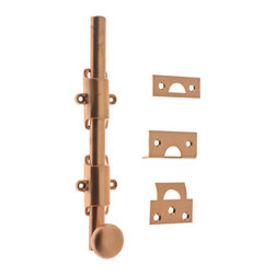 Idh By St. Simons Round Head Surface Bolt With Plain Guides - Ornamental heavy duty surface bolt has even tension and features plain guides and round knob. Bolts include three strike plates for any application.