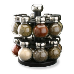 Olde Thompson 16-Jar Orbit Spice Rack - Keeping track of spices while also keeping them looking stylish is a challenge! This spice caddy keeps your spices looking cute and actually comes with 16 spices, making it a great value.