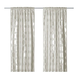 Ninni Rund Pair of Curtains, Light Beige - The metallic polka dots have a Kate Spade–like feeling — super modern yet timeless.