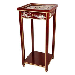 Oriental Furniture - Oriental Pedestal - Red Mother of Pearl Ladies - Hand-crafted by artisans in the Guangdong province of mainland China and inspired by Chinese craftsmanship of the 18th Century, this 29 inch lacquered end table features a single drawer and a convenient bottom shelf. Hand-finished in a rich, clear lacquer, this stand is an elegant way to display your favorite plant or objet d'art.