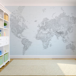 Black and white world map wallpaper - Stunning black and white world map wallpaper from http://www.wallpapered.com