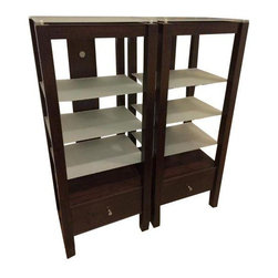 Pre-owned Sauder Transitional Media Towers - A Pair - Two beautiful transitional media towers in a chocolate wood finish by Sauder Furniture. Each provides plenty of storage for books, records, DVDs and digital equipment with three frosted glass shelves and one drawer. This pair is in excellent vintage condition.