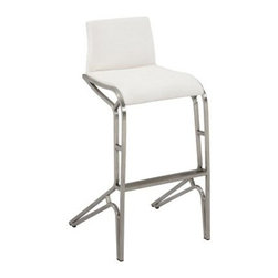 Chintaly Josie Modern Feet Bar Stools - White - Set of 2 - The Chintaly Josie Modern Feet Bar Stools - Set of 2 is the perfect contemporary seat for your bar. You get two sleek and contemporary stools in this set. Their low slung back and footrest make them comfortable. These bar stools are crafted from stainless steel with a brushed finish. The seat and back are upholstered in a brilliant white faux leather. About Chintaly ImportsBased in Farmingdale, New York, Chintaly Imports has been supplying the furniture industry with quality products since 1997. From its humble beginning with a small assortment of casual dining tables and stools, Chintaly Imports has grown to become a full-range supplier of curios, computer desks, accent pieces, occasional table, barstools, pub sets, upholstery groups and bedroom sets. This assortment of products includes many high-styled contemporary and traditionally-styled items. Chintaly Imports takes pride in the fact that many of its products offer the innovative look, style, and quality which are offered with other suppliers at much higher prices. Currently, Chintaly Imports products appeal to a broad customer base which encompasses many single store operations along with numerous top 100 dealers. Chintaly Imports showrooms are located in High Point, North Carolina and Las Vegas, Nevada.