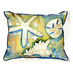Betsy Drake - Betsy Drake Beach Treasures Pillow- Indoor/Outdoor - Beach Treasures Pillow- Large indoor/outdoor pillow. These versatile pillows are equal at enhancing your homes seaside decor and adding coastal charm to an outdoor setting arrangment. They feature printed outdoor, fade resistant fabric for years of wear and enjoyment. Solid back, polyfill. Proudly made in the USA.