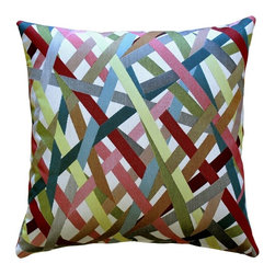 Pillow Decor - Pillow Decor - Streamline Fiesta 20 x 20 Throw Pillow - Multicolor stripes crisscross this pillow for a fun and festive look. This is a versatile accent pillow that can be used to tie in other accent pieces, artwork or furniture in similar colors. The Streamline Fiesta 20 x 20 Throw Pillow will work well layered with smaller coordinating solid color pillows, creating an elegant and contemporary look.