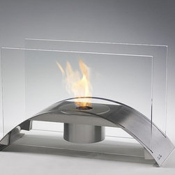 Eco-Feu - Majesty Table Top Fireplace - Features: -Tabletop fireplace.-Bridge shape tabletop and two tempered glass.-Burns without odor.-Burns without residue.-Collection: Tabletops.-Distressed: No.-Powder Coated Finish: No.-Gloss Finish: No.-Material: Steel.-Number of Items Included: 1.-Tabletop Fireplace: Yes.-Fuel Type: Eco-Feu Bio Ethanol.-Fuel Included: No.-Fuel Tank Capacity: 900 ml.-Burn Time of Fuel Accommodated: Up to 8 hours.-Plug In: No.-Ignition: BBQ lighter.-Vent: No.-Heat Resistant Coating: Yes.-Spark Screen Included: No.-Snuffer Included: Yes.-Built in Cooking Area: No.-Portable: Yes.-Lid Included: No.-Cover Included: No.-Compatibility: Eco-Feu.-Swatch Available: No.-Commercial Use: Yes.-Product Care: Read instruction manual carefully prior to use.Dimensions: -Overall Height - Top to Bottom: 11.8''.-Overall Width - Side to Side: 19.7''.-Overall Depth - Front to Back: 7.9''.-Overall Product Weight: 10 lbs.Assembly: -Additional Parts Required: No.