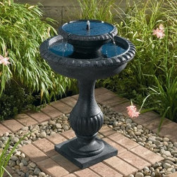 Blenheim Two Tier Solar Birdbath - Blenheim 2-tier Solar Birdbath is a great solar-powered water fountain from Smart Solar that serves as a safe and inviting birdbath. This is a nature-friendly tiered outdoor fountain that is so refreshing and inviting. Having this birdbath in your outdoors will create a focal point in any setting.