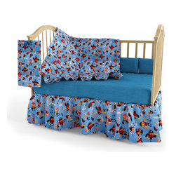 Room Magic - Pirate Pals Crib Set - Our Pirate Pals 4 piece crib set includes solid blue crib sheet, comforter (print on top, solid on bottom), gathered print crib skirt, and coordinating changing pad cover in the finest 100% cotton.