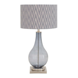 "ecWorld - Urban Designs Tear Drop Glass Smoked Blue 29"" Table Lamp with Herringbone Shade - This large table lamp features a jar clear base with a beautiful stunning herringbone patterned shade. Ideal to uplift any room decor."