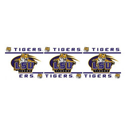 Sports Coverage - NCAA Louisiana State Tigers Self Stick Wall Border - It's so quick and amazing, just peel and stick! Self-stick, removable, and reusable NCAA Louisiana State Tigers Wall Borders are the easy way to decorate and won't damage walls! Peel and Stick technology will adhere to any smooth surface. Washable and dry strippable. Colorful graphics are printed on durable, tear-resistant vinyl wall border in the repeating pattern shown. Size: 5 x 15' long per package. It's so quick and amazing, just peel and stick! Installation has never been so easy!