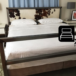 MODERN BED WITH COWHIDE HEADBOARD - Industrial style meets minimalism. The strong, clean-lined