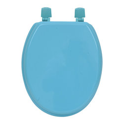 MDF Toilet Seat Aqua Elongated - This toilet seat is in medium-density fiberboard (MDF). This standard size toilet seat has adjustable color coordinated plastic hinges (3 positions) and is easy to install with the included hardware. Comfortable with its 4 bumpers, it fits standard toilet bowls. Assembly instructions are supplied. Clean with warm soapy water. Length 17.13-Inch (max 17.56-Inch) and width 14.75-Inch. Color blue. Give a decorative touch to your bathroom with this colored toilet seat! Complete your decoration with other products of the same collection. Imported.