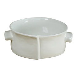 Montes Doggett - Handmade Round Baker with Handles, Medium - This dish would be a delightful way to serve all sorts of food. Since it is oven safe, you could easily serve up anything from soup to crème brûlée. And the handmade ceramic design would lend an especially artful touch to your table.