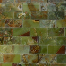 """Marbleville - Green Onyx 2"""" x 4"""" Polished Brick Pattern Mesh-Mounted Marble Mosaic  in 12"""" x 1 - Premium Grade Green Onyx 2"""" x 4"""" Polished Mesh-Mounted Marble Mosaic is a splendid Tile to add to your decor. Its aesthetically pleasing look can add great value to the any ambience. This Mosaic Tile is constructed from durable, selected natural stone Marble material. The tile is manufactured to a high standard, each tile is hand selected to ensure quality. It is perfect for any interior/exterior projects such as kitchen backsplash, bathroom flooring, shower surround, countertop, dining room, entryway, corridor, balcony, spa, pool, fountain, etc."""