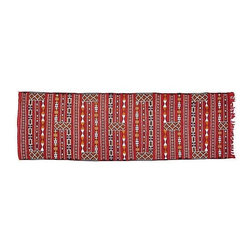 """Pre-owned Red Moroccan Berber Runner - 2' 9"""" x 8' 10"""" - This handwoven 8'10"""" x 2'9"""" Moroccan Berber kilim runner with a geometric pattern on a red background is fabulous. The perfect piece to spice up your Mid-Century Modern decor! Roll it out and watch the compliments file in."""