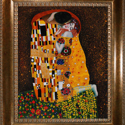 overstockArt.com - Klimt The Kiss Oil Painting (Full View) Oil Painting - Hand painted oil reproduction of a famous Klimt painting, The Kiss Full view. The original masterpiece was created in 1907-08. Today it has been carefully recreated detail-by-detail, color-by-color to near perfection. Gustav Klimt, the Vienna master painted the Kiss oil painting in 1907. The painting depicts a couple surrounded by a gold blanket and ornaments sharing a moment of sheer passion - the perfect kiss. In the oil and gold masterpiece, the man appears standing as he holds in his arms the kneeling woman. The two seem to be positioned on a flower field, kissing, totally engaged with one another. The woman seems to be following the lead of her partner, but is not taking an active part. The patterns of the man are mostly black and white rectangles, while the woman is engulfed in flowers. The identity of the people depicted in this oil painting is not exactly clear; some suggest that it is Klimt himself and his beloved partner, Emilie Floge. However, that is sheer speculation as Klimt made it a point never to paint himself. Gustav Klimt (1862-1918) was one of the most innovative and controversial artists of the early twentieth century. Influenced by European avant-garde movements represented in the annual Secession exhibitions, Klimt's mature style combines richly decorative surface patterning with complex symbolism and allegory, often with overtly erotic content. This work of art has the same emotions and beauty as the original. Why not grace your home with this reproduced masterpiece? It is sure to bring many admirers!