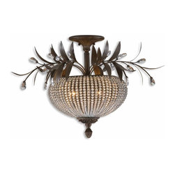 Uttermost - Uttermost Cristal De Lisbon Semi-Flush Mount Ceiling Fixture in Golden Bronze - Shown in picture: Rows Of Glass Beads And Golden Bronze Metal Details. Rows of clear crystal beads fill the channels of the narrow ribs - and bouquets of the same cut crystals spill over the edges - their rich unique color catching the light in both the prisms and also in the beading.