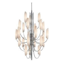 KICHLER - KICHLER Stella Contemporary Chandelier X-HC41224 - Timeless, remarkable beauty comes to life on this contemporary chandelier by Kichler Lighting. Curved satin etched cased opal glass shades give off the perfect, warm lighting your home decor needs. The sophisticated and elegant design of the metal frame is enhanced with the chrome finish. The Stella Contemporary chandelier is a splendid addition for your metropolitan or classic style home decor.