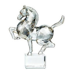 Swarovski - Swarovski Zodiac Horse - Swarovski Chinese Horse  -  Hand Crafted in Swarovski Silver Crystal  -  Made in Austria  -  Horse in faceted clear crystal with silver shade surface effect and smoked topaz eyes  -  Unfaceted tail and limbs