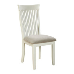 """Standard Furniture - Standard Furniture Regency White Side Chair in White - Regency features a unique blend of design elements borrowed from across the ages, with an updated simplicity and clean white finish for today's casual lifestyle. - 12024.  Product features: Style features include tapering square legs, clipped corners, slat backed chairs; The Rectangle Table has weighty tapering legs set on an angle, and a double look top with clipped corners. It has one-18"""" extension leaf.; The tall smooth rake backed chair borrows a bit of its style from the Glasgow school and a bit from the classical Regency period combined in an updated streamlined profile.; Cushioned slip seat chair bottoms are upholstered with microfiber fabric in a soft gray accent color.; The Sideboard top gives a surface for buffet serving, offers hidden storage within its cupboards, plus has an x-shaped rack for wine bottles and a display shelf below.; Regency has a clean white paint finish over sustainable rubberwood solids, cherry veneers and quality engineered wood products.; Sleek round cast metal knobs are finished in brushed nickel color.; Surfaces clean easily with a soft cloth.. Product includes: Side Chair (2). Side Chair in White belongs to Regency White Collection by Standard Furniture."""