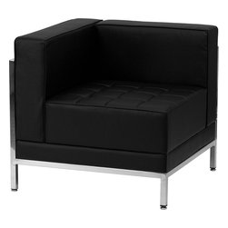 Flash Furniture - Flash Furniture Hercules Imagination Series Contemporary Left Corner Chair - This attractive black leather reception chair will complete your upscale reception area. This chair allows you to place in several arrangements for a modular reception area. The design of this chair allows it to adapt in a multitude of environments with its smooth upholstered back, tufted seat cushions and visible accent stainless steel frame. [Z-BIMAG-LEFT-CORNER-GG]