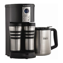 Hamilton Beach - Stay or Go Digital Thermal With 2 Mugs and 1 Carafe - Split basket feature allows user to brew 2 different flavors of coffee into each mug at the same time