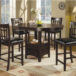 """Wildon Home � - Kittery 5 Piece Counter Height Dining Set - Magnify the trendy contemporary look of your casual dining area with this slick counter H table. It features a storage base with a sunburst veneer top. Utilize the 18 inch leaf to expand the table top to a generous 60 inches. Combine this counter table with the counter chairs from this collection for a complete set. Features: -Kittery collection. -Set includes counter H dining table and four barstools. -Solid wood construction. -Contemporary style. -Round edges. -Single pedestal leg. -Smooth table top. -18"""" Extension leaf. Dimensions: -Kittery counter H dining table 36"""" H x 42"""" W x 42 - 60"""" D. -Kittery 24"""" barstool: 39.25"""" H x 17"""" W x 21.5"""" D."""