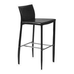 Eurostyle - Eurostyle Shen-B Leather Bar Chair w/ Steel Frame in Black [Set of 2] - Leather Bar Chair w/ Steel Frame in Black belongs to Shen Collection by Eurostyle Seat, back legs covered completely in leather; chromed foot rest. Available in counter and dining height. Dimensions: 20L x 17W x 38H. Some assembly may be required. Please see product details. Seat, back legs covered completely in leather; chromed foot rest. Available in counter and dining height. Bar Chair (2)