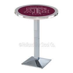 Holland Bar Stool - Holland Bar Stool L217 - Chrome Texas A&M Pub Table - L217 - Chrome Texas A&M Pub Table belongs to College Collection by Holland Bar Stool Made for the ultimate sports fan, impress your buddies with this knockout from Holland Bar Stool. This L217 Texas A&M table with square base provides a commercial quality piece to for your Man Cave. You can't find a higher quality logo table on the market. The plating grade steel used to build the frame ensures it will withstand the abuse of the rowdiest of friends for years to come. The structure is triple chrome plated to ensure a rich, sleek, long lasting finish. If you're finishing your bar or game room, do it right with a table from Holland Bar Stool. Pub Table (1)