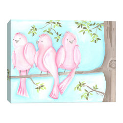 "Doodlefish - Songbirds Two - 20"" x 16"" Stretched Canvas Giclee of the three sweet pink birds sitting on a branch with a bright aqua blue sky. Unframed, this pieces is a stretched canvas that is gallery-wrapped around thick museum quality wood. This is also available as one 36x12 piece with all six birds.  A companion piece Songbirds One makes the set a diptych. The branch travels across the two pieces.  Framed, it is mounted and framed in your choice of frame colors. The finished size with the frame is 24"" x 20"". Personalization is available. Location, font and size of personalization is at the discretion of the artist."