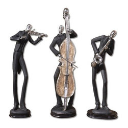 Uttermost - Musicians Accessories Statues in Silver Plated - Set of 3 - 19061 - Three piece musicians accessories statues