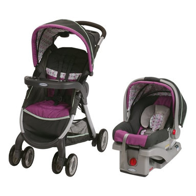 Graco - Graco Fast Action Fold Stroller Click Connect Travel System - Nyssa Multicolor - - Shop for Car Seat/Stroller Combo Travel Systems from Hayneedle.com! You ll be ready to go out on the town with your baby with the Graco Fast Action Fold Stroller Click Connect Travel System - Nyssa. Designed with your baby s safety and comfort in mind the SnugRide Click Connect 30 Infant Car Seat is made from EPS energy absorbing foam which manages impact energy has been rigorously crash-tested and meets or exceeds U.S. safety standards. This car seat has also been side-impact tested for occupant retention by the harness system. Made for infants from 4 to 30 lbs. the SungRide Clock Connect 30 features a front-adjust five-point harness for easy adjustment and includes a stay-in-car base with six-position dial adjustments and an easy-to-read level indicator to help ensure accurate installation. Made with Click Connect technology this car seat also quickly and easily with one step securely attaches to the included stroller to create a travel system. The stroller is able to hold up to 50 lbs. and features a multi-position reclining seat for your child s comfort plus a convertible three- or five-point harness that grows with your child. A height-adjustable handle adds comfort to your strolling while the single front swivel wheels give you enhanced maneuverability. An extra-large storage basket is perfect for holding all of your travel essentials. The parent s tray features two deep cup holders; the child s tray pivots for easy accessibility and has a cup holder of its own. Easy to store this stroller features a one-second standing fold that is easy to use. Whether you re going for coffee with a friend out for a walk as a family or to the zoo this travel system is the perfect choice for any parent. Additional Features Also side-impact tested Safe seat engineered Meets or exceeds U.S. safety standards 5-point front-adjust safety harness Stay-in-car base with 6-position dial adjustmen
