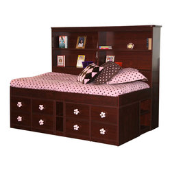 Berg Furniture - Berg Furniture Sierra Wide Bookcase Headboard-Brandy - Berg Furniture - Headboards - 2295A28 - The Berg Junior Captain's Wide Bookcase headboard fits all Junior Captain's Beds and personalizes each bed to allow for showcasing all their charming trophies and keepsakes. This add-on headboard comes in 5 available finishes to absolutely fit with your current decor. This kids bookcase headboard brilliantly stores their latest books flashlights and music players in easy reach and in a stylish way.