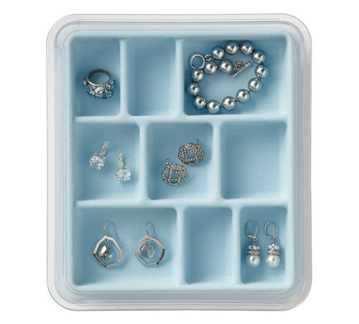 Neatnix - Jewelry Stax, 9 Compartment, Light Blue - Use our 9 compartment Jewelry Stax to turn any drawer, dresser or counter-top into a personalized jewelry chest. This unique, practical organizer offers a unique stacking and sliding feature, allowing you to utilize in-drawer or on-counter space to its fullest. Stacking and sliding trays are made of clear plastic and liners are made of grey flocked plastic with a velvety feel.