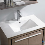 """Fresca - Fresca Allier 30"""" Modern Single Sink Vanity Set w/ Mirror - The Fresca 30"""" Allier is a sleek, modern free standing vanity with plenty of storage space. This model is accented nicely with a matching mirror with small shelf. Optional side cabinets are available. Many faucet styles to choose from."""