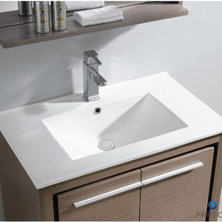 "Fresca - Fresca Allier 30"" Modern Single Sink Vanity Set w/ Mirror - The Fresca 30"" Allier is a sleek, modern free standing vanity with plenty of storage space. This model is accented nicely with a matching mirror with small shelf. Optional side cabinets are available. Many faucet styles to choose from."