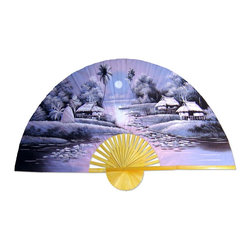 "Oriental-Décor - ""Night in Asia"" Hand-Painted Fan - Add a little serenity to your decor with this glorious hand-painted fan. Your eyes are feeling heavy, you are about to sleep and dream of a night in a small Asian village. Sweet dreams."