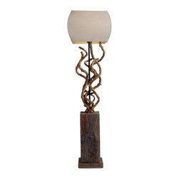 ParrotUncle - Solid Wood Handmade Rustic Style Floor Lamp with Vine Decoration - Large solid wood base makes this floor lamp stand steady. The vine under fabric shade decorates this lamp more stylish. Compare with a industrial lamp, this handmade artistic floor lamp is more suitable for your home with a lovely view. Solid Wood Handmade Rustic Style Floor Lamp with Vine Decoration
