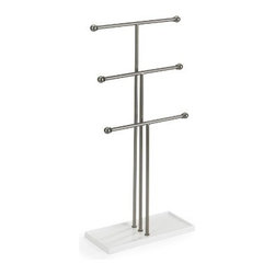 Umbra - Trigem Three-Tier Jewelry Organizer by Umbra - Our Trigem Three-Tier Jewelry Stand from Umbra conveniently organizes and displays your favorite necklaces, bracelets and hair accessories. Base doubles as a storage tray for rings and small trinkets.