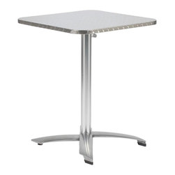 Euro Style - Arden Aluminum Tilt-Top Indoor/Outdoor Table - When choosing tables for a deck, patio, or garden dining area this table has everything you would want. Simple square top is made of durable stainless steel with a wraparound edge. The sturdy base is crafted of aluminum. Top tilts fully for off season storage to keep it looking like new. When it's ready to store, just tilt the top sideways. * Arden Aluminum Tilt-Top Indoor/Outdoor Table. Aluminum base. Stainless Steel Square Top. Top Tilts for easy Storage. Wraparound Edge. Some Assembly Required. . 24in W x 24in D x 28.5in H.