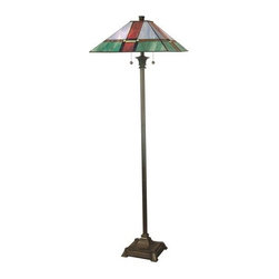 Dale Tiffany - Dale Tiffany TF12212 Tranquility Mission 2 Light Torchiere Lamp - Features: