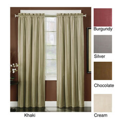 None - Irridescent Faux Silk 95-inch Thermal-backed Panel Pair - Choose this stunning pair of lined faux silk curtains to create beautiful style in any room of your home. This pair of rod pocket curtain panels have a thermal foam lining to keep sunlight out and reduce the cost of your energy bill.