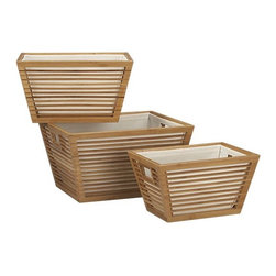 Set of 3 Bamboo Storage Totes with Liners - Tapered totes of slatted bamboo with comfortable handles are fitted with canvas liners for clean-lined, organic open storage.