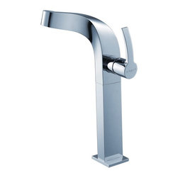 Kraus - Kraus Typhon Single Lever Vessel Faucet in Ch - Kraus TYPHON single-hole vessel faucet features eye-catching design. Solid Brass construction. Triple plated chrome finish. Features high-quality Hydroplast ceramic cartridge. Flow Water Rate 2.2GPM, 60PSI. Single-hole, top-mount installation. Single lever water and temperature control. Standard US plumbing connections. All mounting hardware and hot/cold waterlines are included. Overall Height: 11.7 in.. Height of Spout: 10.7 in.. Reach: 6.7 in.. ADA compliantDiscover the brilliance of exquisite bathroom decor and enhance your way of living. Add a touch of elegance to your bathroom with a stylish vessel faucet from Kraus.