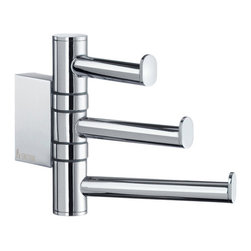 Air Swing Arm Triple Hook - Polished Chrome - The Air Collection Swing Arm Triple Hook features three hooks that easily separate to hold large towels and robes, or fold flat when not in use. Add to your entryway to hang bulky coats or hats.