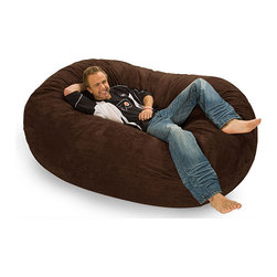 None - Oval 6-foot Dark Brown Microfiber and Foam Bean Bag - A jumbo foam beanbag is perfect for lounging in front of the TV. This six-foot oval dark brown bag can be used by children or small adults. It features a Durafoam foam blend. The removable cover is made out of microfiber and can be machine washed.
